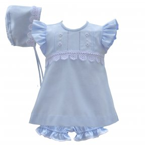 A cute dress set for baby girls by Pretty Originals, made from lightweight cotton twill. In pale blue, the dress and bonnet have white lace and embroidery. The set comes with matching bloomers. BD01890