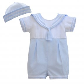 An adorable nautical shortie set for baby boys by Pretty Originals, made from lightweight cotton. In pale blue and white, the babysuit has a sailor collar and it comes with a matching sailor style hat. DL61889