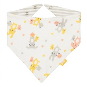 BU0170 With our cute bun & chick print on one side and a lovely yarn dyed stripe on the other this adjustable organic bandana cotton bib is a super useful little accessory. A great option for your change bag or everyday mealtimes.