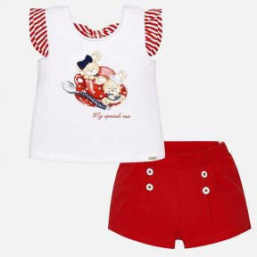 Mayoral girls red and white short set.