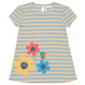 TG0291 Have your little one buzzing all season long in our multicoloured busy bee dress. The yarn dyed rainbow stripe adds an extra playful buzz alongside the beautiful busy bee appliqué design. Made with organic cotton with a little bit of stretch for ex