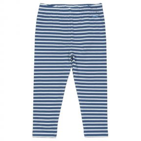 TU0286 These great little leggings feature our classic navy blue and cream yarn dyed stripe and are designed to last. With a deep comfy waistband and nappy panel at the seat they really are a super duper wardrobe essential. So versatile (wear them with an