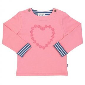 TG0280 This simple yet lovely sweatshirt will go with everything. The gorgeous daisy heart trim detail with coconut button double shoulder opening makes for the perfect layer. The special navy and cream yarn dyed stripe cuffs make this a wonderful partner