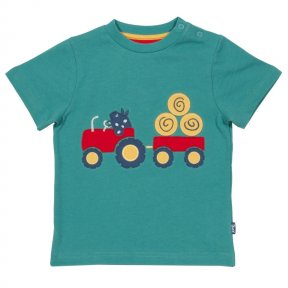TB035 Green short sleeves organic cotton farm life t-shirt is a must-have for this spring. Featuring a wonderfully detailed tractor appliqué.Kite