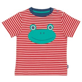 TB0360 Our gorgeous yarn dyed stripe t-shirt features a rather cute appliqué frog, for little ones that love to leap and bound! Fun and fresh, this high quality t-shirt is sure to be worn time and time again, • Cherry red and cream yarn dyed stripe • T-sh