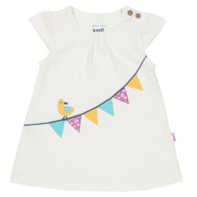 Kite. Bunting tunic. TG0330 • Cream • T-shirt neck • Cap sleeves • Tunic style • Coconut button shoulder opening • Appliqué bunting design • Slub jersey • Co-ordinating items available • 100% organic cotton