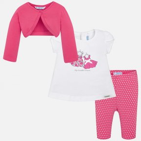Mayoral girls 3 piece pink and white polka dot leggings set