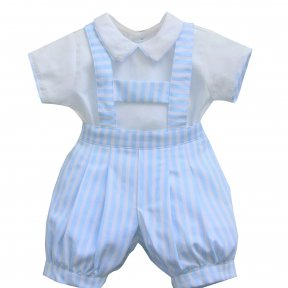 Pretty Originals. ME 00125 Lovely boy's 2 piece romper set. Blue, white, candy stripe dungaree style shorts. Separate white shirt, matching piping to the sleeves and collar.