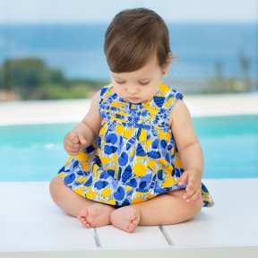 Tutto Piccolo seashell patterned knit dress with knickers with decoration on the yoke. 6791