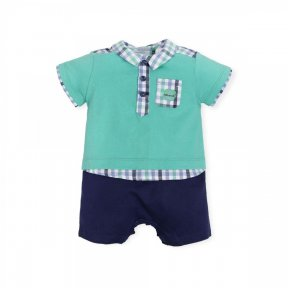 Tutto Piccolo short sleeved romper combining two fabrics with cute two-piece effect. 6293