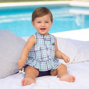 Tutto piccolo, dress 7 shorts set, navy, white, green check. cotton, frill, bow. 6593.