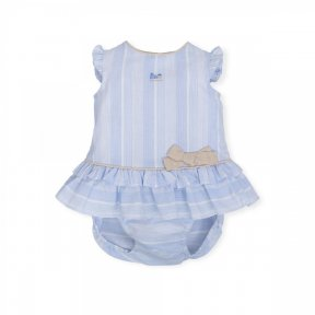 Tutto Piccolo. Pale blue, white, stripes, bow, frill, dress and pants set. 6785.