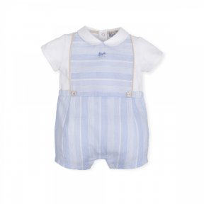 Tutto piccolo. pale blue and white striped romper. Short sleeved. 6285.