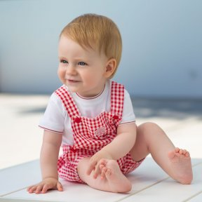 Tutto Piccolo red and white gingham dungaree romper, popper fastening ss19 6292