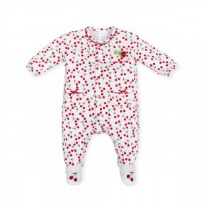 Tutto Piccolo  cherry patterned cotton babygrow,bow detail, front popper fastenings ss19 6092