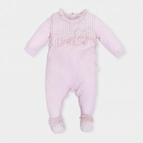 Tutto Piccolo Baby girls pink babygrow with check panelling, bow and feet, Popper fastening ss19 6184