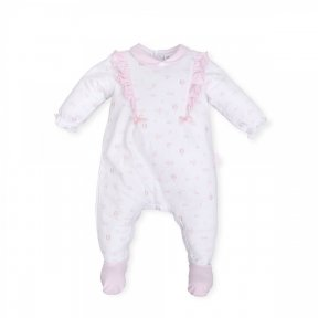 Tutto Piccolo baby girls pink and white patterned cotton babygrow, glitter detail, decorative bows, Popper fastenings ss19 6182