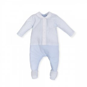 Tutto Piccolo baby boys babygrow, blue and white check top, feet and collar, popper  fastening ss19 6084