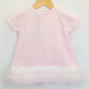 Floc baby girls short sleeved pink knitted cotton dress, white lace and feather detail,  pearlescent buttons. SS19 307545