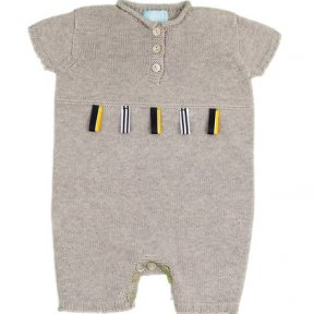 Baby boys pale grey short leg romper, soft knit cotton, button fastening to the front, yellow, white and navy ribbon tag detail, button fastening between the legs. SS19