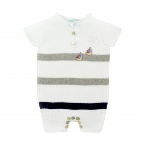 Floc short leg romper, soft cotton knitted material,grey and navy stripe, button fastening to the front,sailboat decoration to the chest with button fastening between the legs SS19 301559