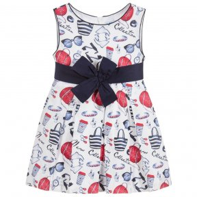 Girls pleated summer sleeveless dress. White with red and navy shoe and handbag print.