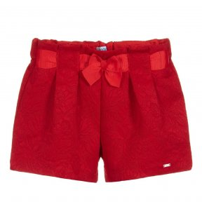 Mayoral red jacquard girls bow shorts 3207 ss19
