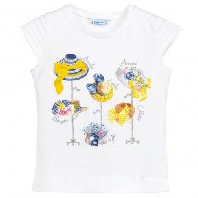 Mayoral white t-shirt with hat print girls 3013 ss19