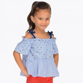 Mayoral blue striped cotton strappy off-the-shoulder blouse 3104 SS19