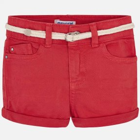 Mayoral SS19 234 girls twill coral shorts belt and turn-ups