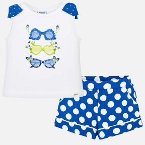Mayoral girls polka dot royal blue cotton shorts set SS19 3216