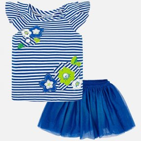 Mayoral girls skirt and t-shirt set. Royal blue, cotton and tulle, ruffle, striped, flowers.