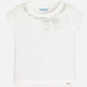 Mayoral girls white t-short cotton bow SS19 174