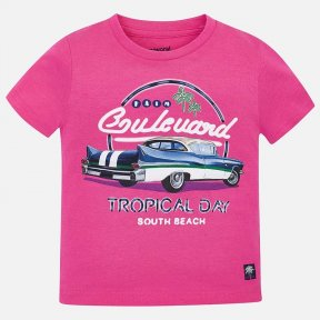 Mayoral boys hot-pink car t-shirt SS19 3032