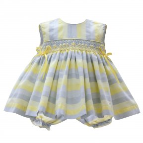 pretty originals lemon & grey striped dress & pants, smocking, bow detail. SS19 ME00101Y