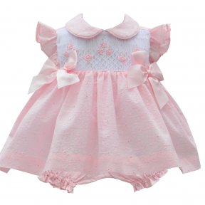 Pretty Originals Pink & white dress & pants set. Broderie Anglaise material, smocking, bows. SS19 MT00878