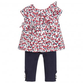 Mayoral girls white, red & navy floral print blouse & trouser set.