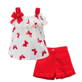 Pretty Originals red, ivory polka dot short set, bow detail, lace trim, butterfly print. SS19 MC01193