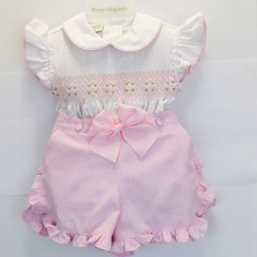 Pretty Originals pink & white short set, smocking, bow detail SS19 MT00903