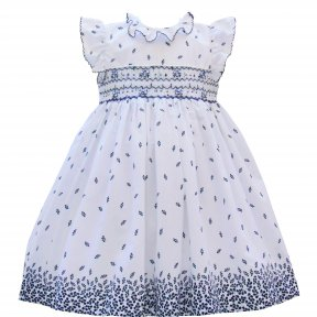 Pretty Originals navy blue & white  dress, headband, smocking, fully lined SS19 MC01189