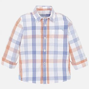 Mayoral slim fit boys white, blue & orange checked shirt. SS19 3141