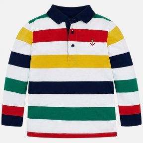 Mayoral boys mini collection long sleeved polo shirt, striped, button fastening. SS19 3124