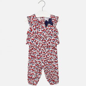Mayoral girls white with navy and red floral print jumpsuit / romper.