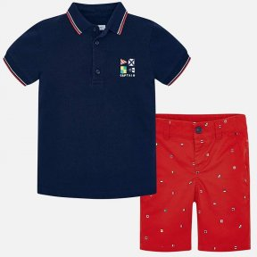Mayoral boys polo shirt & short Set, Navy blue top & red patterned shorts SS19 3245
