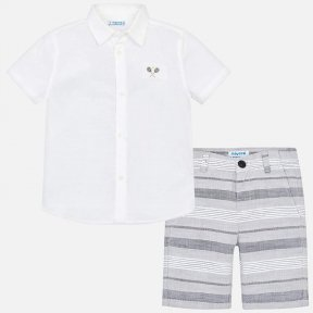 Mayoral boy shirt & shorts set from mini collection. White & grey, button fastening. SS19 3246