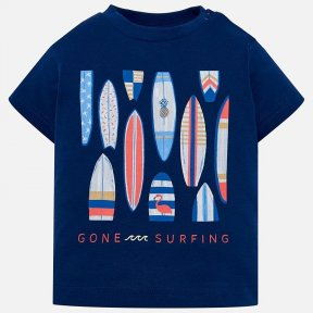 Mayoral navy blue t shirt with surf print design, 100% cotton. SS19 1023