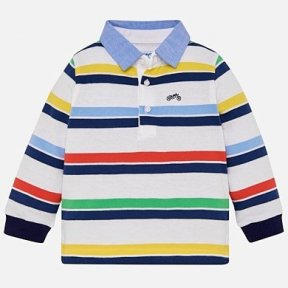 Mayoral long sleeved striped polo shirt. white, blue, yellow, green 100% cotton  SS19 1125