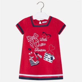 Mayoral girls red jersey dress with embellishment to the front.