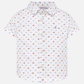 Mayoral short sleeved boat patterned shirt. white, orange, blue  SS19 1026