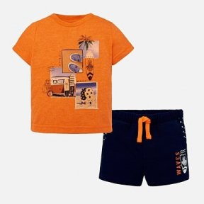 Mayoral t shirt & shorts set. orange, blue, print design. SS19 1645